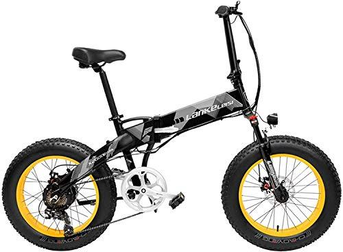 Adultos 20 pulgadas Fat Bike Bicicleta eléctrica plegable Bicicleta de nieve de 7 velocidades 48V 10.4Ah / 14.5Ah 500W Motor Marco de aleación de aluminio 5 PAS Bicicleta de montaña (Color: Amarillo