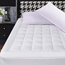 OBOEY Queen Size Mattress Pad Cover Breathable Top Pillow Top with Snow Down Alternative Fill Cooling Mattress Topper Quilted (8-21''Fitted Deep Pocket Queen Size)