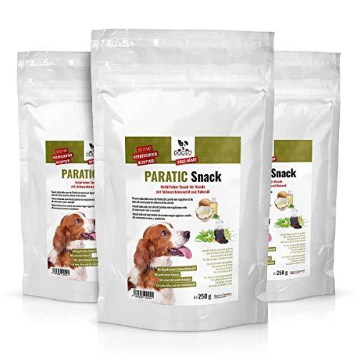 DOGS-HEART PARATIC Snack 3 x 250g | Natürlicher Schutz - Snack für Hunde mit Schwarzkümmelöl und Kokosöl | Premium Hunde Leckerli | natürlich, beruhigt & entspannt