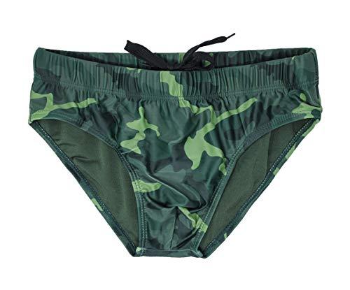 Evoga Bañador para hombre Slip Militar Camuflaje Camouflage Shorts Plare Verde L