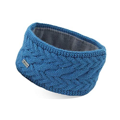 irisaa Stirnband Damen gestricktes Haarband Mädchen Häkelarbeit Ohrwärmer gefüttertes Kopfband mit Fleece Innenfutter, stirnband farbe:Türkis Blau