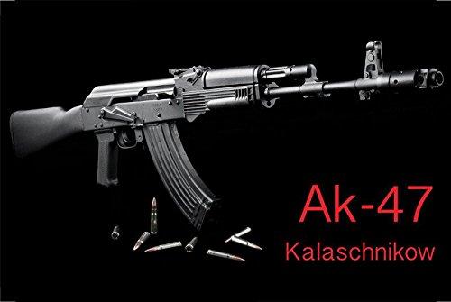 Deko 7 Kalaschnikow AK-47 - Cartel de Chapa (30 x 20 cm), Color Negro