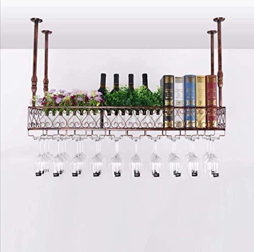 HLWJXS Estante para Vino de Bar Estante para Vino Estante para Vino Estante para Copa de Vino Estante para Vino Colgante para Sala de Estar Decoración de Barra Alenamiento Fácil de Instalar, B, L100