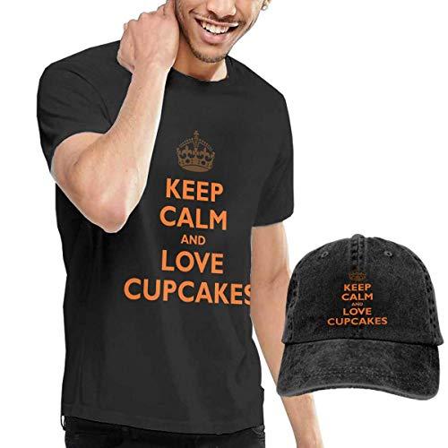 Henrnt T-Shirts Herren, Keep Calm & Love Cupcakes Tshirt Short Sleeve Denim Hat