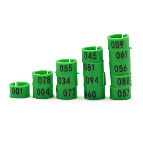 MACGOAL Numbered Bird Leg Bands 8mm Poultry Leg Rings for Birds Quail Dove Pigeon Foot Rings 001-100 (Green)