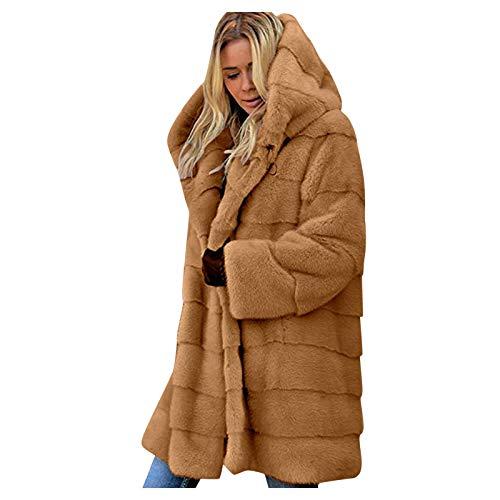 RENJIA IHGWE - Capa de invierno para mujer, con capucha, larga, de pelo sintético, para boda, monocolor, elegante, de franela, grande camel XXXXL