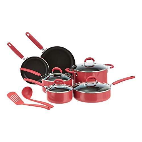 Amazon Basics - Juego de 12 utensilios de cocina antiadherentes de cerámica (ollas, sartenes y otros utensilios), rojo