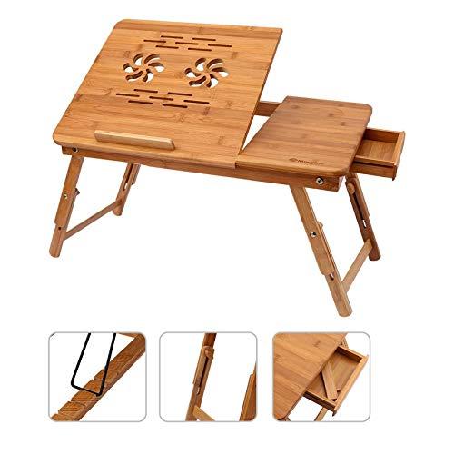 Tavolino PC Notebook Pieghevole Portatile in bambù, Tavolo per laptop ad altezza regolabile con con 5 Angoli di Inclinazione Top Ventola Di Raffreddamento Cassetto