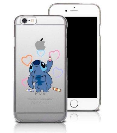Coque iPhone 7 et iPhone 8 Stitch Petit Bonhomme Bleu Dessin Animée Coeur Crayon Amour amitié Coquefone
