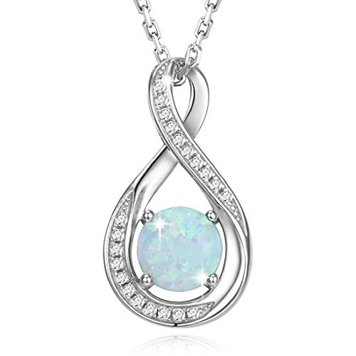 Gemlanto Collar de plata de ley 925 de collares con piedras natales de Octubre de Opal creado por el infinito para mujer cumpleaños aniversario joyería regalos para su madre