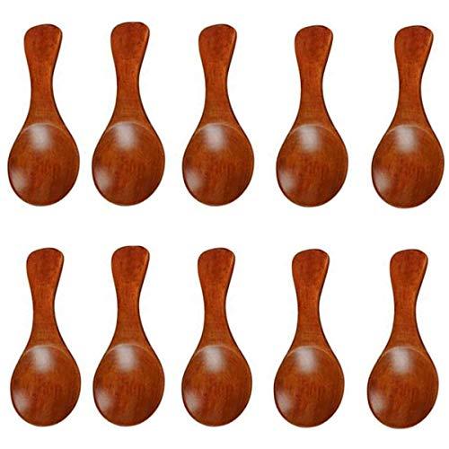 Kleine Salzlöffel aus Holz für Gewürze, Eis, Gewürze, Tee, Gewürze, Zucker, Milch, Kuchen, Baby, 10 Stück