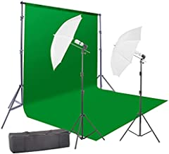 StudioFX 800W Chromakey Green Screen 10ft x 12ft Backdrop Photography Video Lighting Kit - Background Support System Included - G12