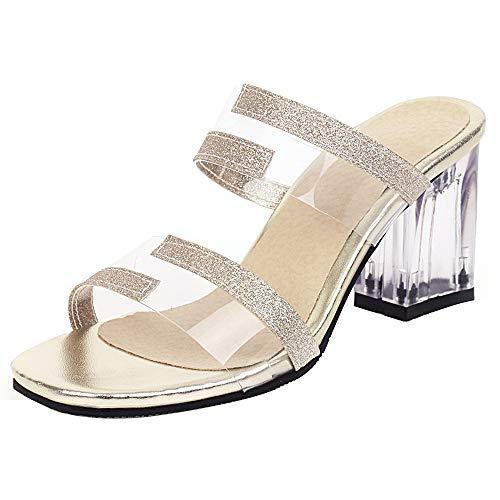 Luis Vuis Women Fashion Block Heels Sandals Slip On Transparent Party Dress Shoes Open Toe Glitter Sandals Gold Size 40 Asian
