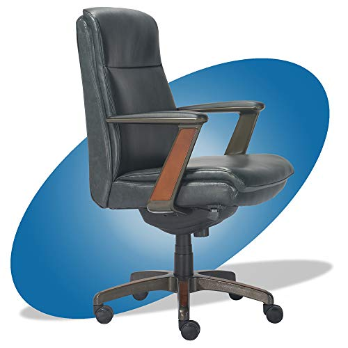 La-Z-Boy Dawson Modern Executive Office, Adjustable High Back Ergonomic Computer Chair with Lumbar Support, Black Bonded Leather with Wood Inlay -  Millwork Holdings Co., Inc., CHR10083B