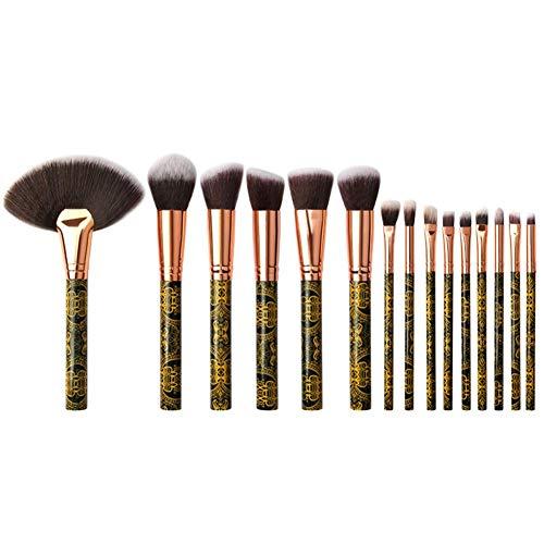 Siwanm Lot de 10 pinceaux de maquillage en nylon noir et doré et texture dorée professionnelle Advanced Synthesis Convient pour les cosmétiques poudres, crèmes et liquides (22 x 14,5 x 2 cm)