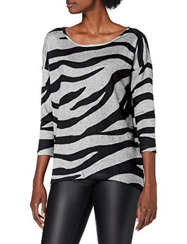 Only ONLELCOS 4/5 AOP Top JRS Noos Camiseta sin Mangas, Color Gris Claro/Cuerpo: Estampado de Cebra, XS para Mujer