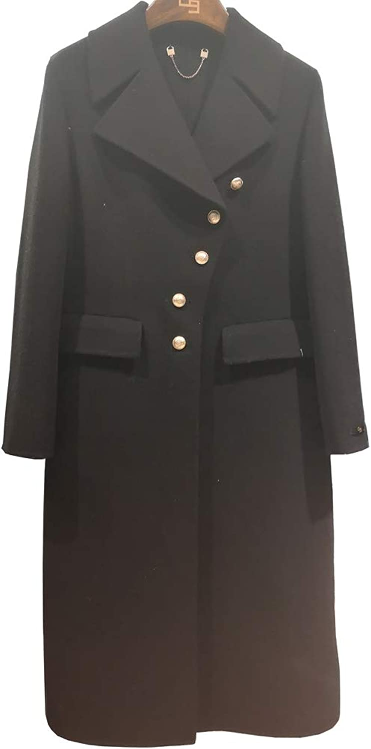 CG Women's Long Jacket Notched Lapel Single Breasted Double Wool Coats G067