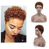 MISHAIR Pelucas cortas rizadas afro,Peluca de Cabello Sintéticas resistente al calor,Peluca Fluffy del aspecto natural con el casquillo de la peluca Para Fiesta Cosplay Diaria