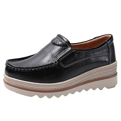 Platform Leisure Slip On Shoes for Women Light Outdoor Daily Wear Leather Creepers Simple Spring Autumn Casual Work Shoes Black