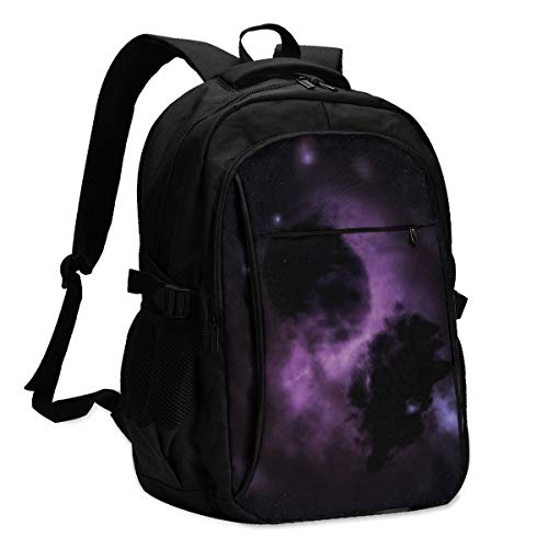 Lzxlxr Amazing Astronomy Background Bright Backpack for School with USB Charging Port & Headphone Port for Men Women, Laptop Backpack Fits 14-16'' Laptops