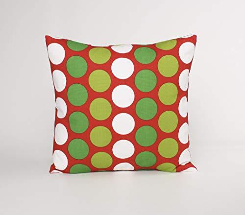 Qui556 Kerstkussensloop groen witte stippen lippenstift rode kussensloop feestelijke kussensloop
