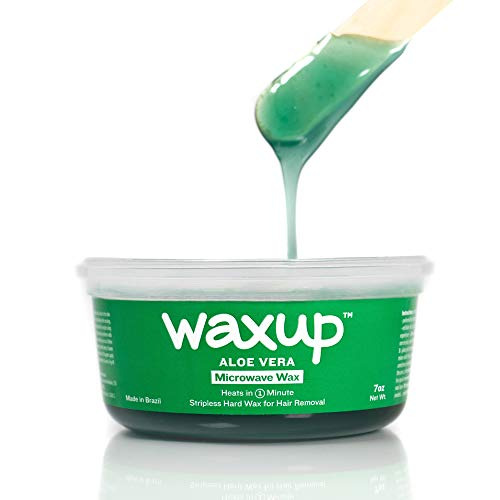 waxup Microwave Hard Wax Kit, Aloe Vera, 7 Ounces, 8 Medium and 8 Large Wax Sticks, at Home Waxing kit for Women face, Microwaveable Hot Wax Hair Removal for all Body Areas. No-Strip Wax.