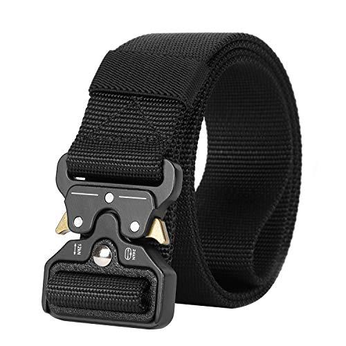 Mens Tactical Belt SANSTHS Heavy Duty Nylon Belt 1.5in Riggers Belt Military Webbing with Quick Release Metal Buckle (D-Black, Suit waist 36-40in)