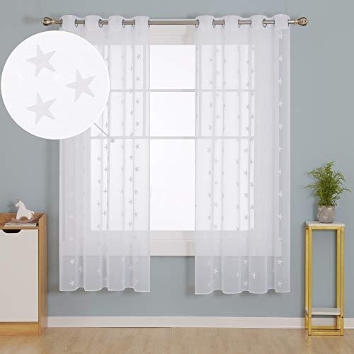 Doconovo Visillos para Dormitorio Infantil de Salón 140 x 175 cm 2 Piezas Blanco Estrellas y Blanco