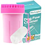 Upgrade 2 in 1 Dog Paw Cleaner & Pet Grooming Brush - Portable Pet Paw Cleaner with Towel,Soft Silicone Dog Foot Washer for Dog Cat Grooming with Muddy Paws (Pink,Large)