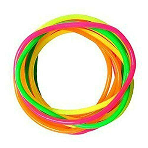 All Accessories® Gummy Bangles Neon 12 Bands s Jelly Wristbands Bracelets 80's Fancy Dress Girls