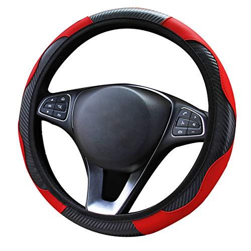 YUDICP Funda para volante de coche, transpirable, antideslizante, banda elástica de fibra de carbono, sin anillo interior, para cuatro estaciones (negro-rojo)