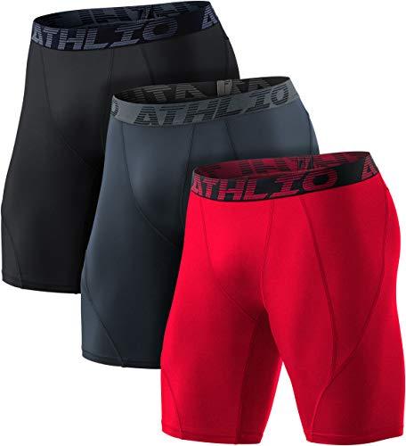 ATHLIO 1 oder 3 Pack Herren Athletic Cool Dry Kompressions-Shorts Sport Performance Active Running Tights, Herren Damen Jungen Mädchen, 3er-Pack (BSP06) - Schwarz/Anthrazit/Rot., XX-Large