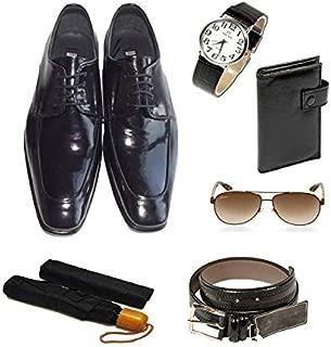 Eray Kundura Klasik Siyah Düz Erkek Ayakkabısı + Cüzdan + Kemer + Kol Saati + Şemsiye + Güneş Gözlüğü