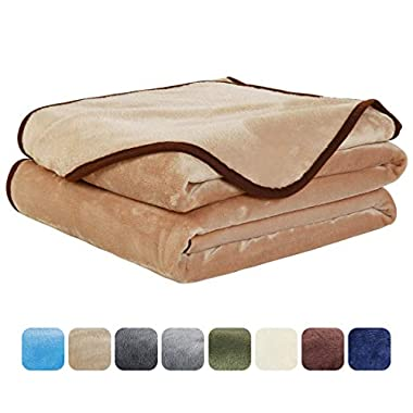 EASELAND Soft Queen Size Blanket All Season Warm Fuzzy Microplush Lightweight Thermal Fleece Blankets for Couch Bed Sofa,90x90 Inches,Camel