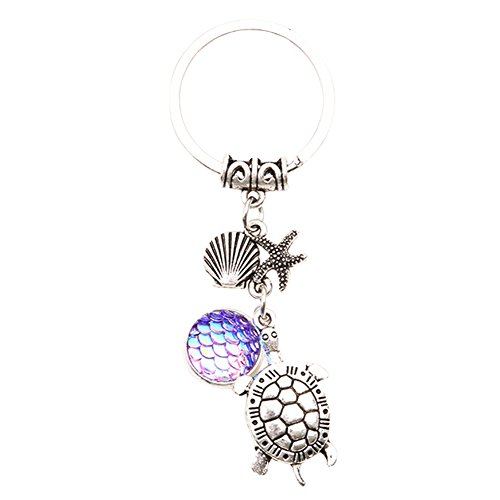 Qinlee Turtle with Key Ring Starfish Key Pendant Starfish Sequins Fish Scales Keychain Purse Pendant Handbag Charm Key Chain(Purple)