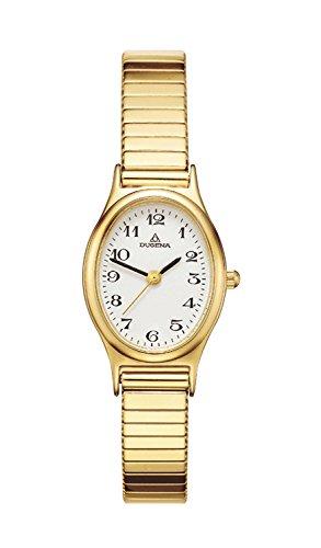 Dugena Damen-Armbanduhr Comfort Line Analog Quarz Edelstahl beschichtet, weiss 4168003