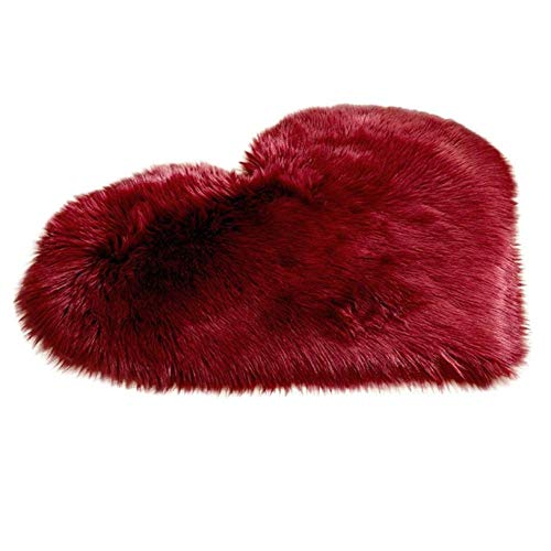 Soft Faux Sheepskin Area Rug Chair Couch Cover Area Rug for Bedroom Floor Sofa Living Room Floor Shaggy Plush Carpet Rugs 30 x 40 cm (Red)