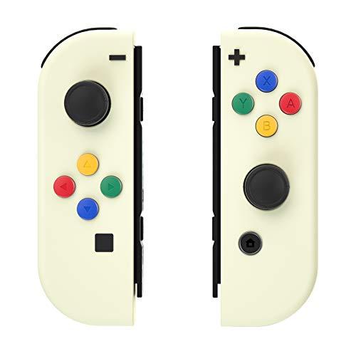 eXtremeRate Hülle für Nintendo Switch Joycon,Gehäuse Case Cover Schutzhülle Schale Tasche Set für Nintendo Switch Joycon Controller mit A/B/X/Y-Taste RichtungsKnöpfe(Cremefarbe)-Keine Konsole Hülle