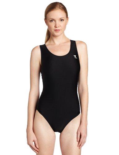 TYR Sport Women's Solid Maxback Swim Suit (Black, 42)