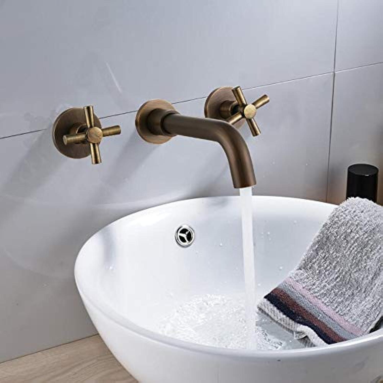 Waschtischarmatur Messing Antik Bad Wasserhahn Doppelgriff Wandmontage Waschbecken Wasserhahn Und Rough In Valve Inklusive Drehbarer Auslauf