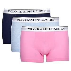 4107bL 58JL. SS300  - Ralph Lauren 714662050055 - Calzoncillos Tipo bóxer para Hombre, 3 Unidades, Color Azul Claro/Rosa/Azul Marino