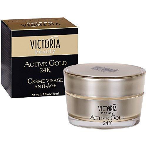 Victoria Beauty - Anti Aging Hyaluron Creme mit 24k Gold gegen Falten und Augenringe, straffende Gesichtscreme mit Kollagen und Hyaluronsäure für Frauen (1 x 50 ml)