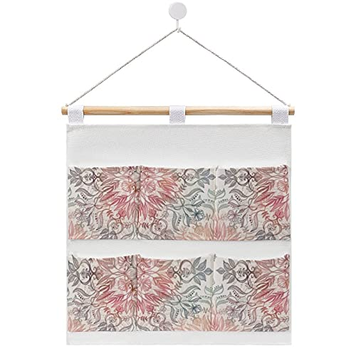 Bolsa de almacenamiento de lino de algodón para colgar en la pared, diseño de mandala de especias de otoño, color crema, bolsas de almacenamiento para dormitorios y cuartos de baño, 7 bolsillos