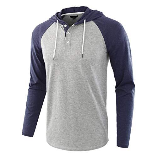 AKAIDE Herren Kapuzenpullover mit Langen Ärmeln und Knöpfen zum Zuziehen von Patchwork-Hemden, Bluse, Rollkragen Gr. Small, Navy