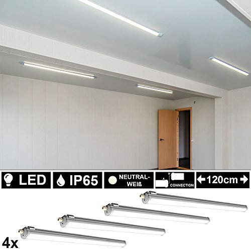 4er Set LED 36 Watt Decken Leuchten Wannen Strahler Feuchtraum Industrie Beleuchtungen Bad Werkstatt Lampe