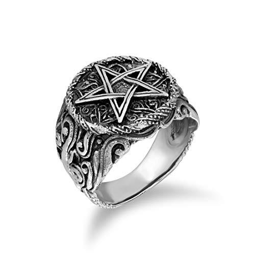 WithLoveSilver 925 Sterling Silver Celtic Pentagram Pentacle Star Ring (9)