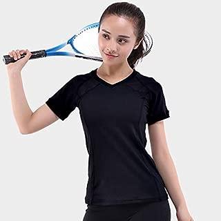BEESCLOVER NWT Woman Gym Shirt V Neck Short Sleeve Tshirt Elastic Yoga Sports T Shirt Fitness Women's Running Black Tops tee