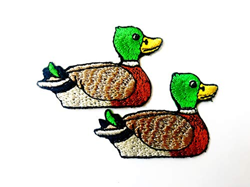 TH Set of 2 Tiny Mini Mallard Duck Cute Cartoon Logo Patches Sew Iron on Embroidered Applique Badge Sign Patch Clothing Costume