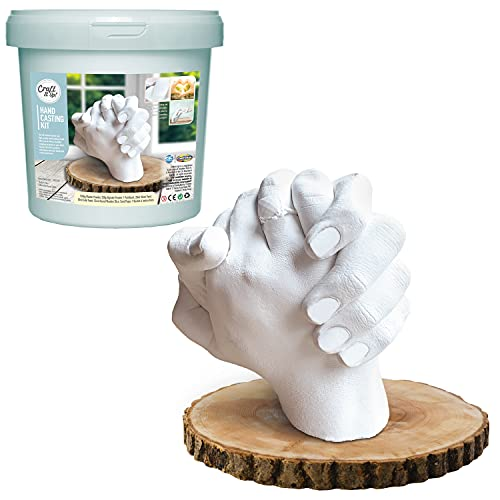 Hand Casting Kit by Craft It Up! DIY Plaster Molding Sculpture Kit, Hand Holding Craft for Adults Couples Romantic Activity Set, Baby Shower, Anniversary, Wedding Gift - Baby Hand Feet Mold Keepsake