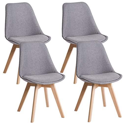Deuline® 4X Esszimmerstühle Grau-Stoffbezug Esszimmerstuhl Küchenstuhl SGS Zertifiziert Massivholz Beine Polsterstuhl Retro Design Stühle Lehnstuhl Oslo 521205